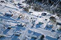 Aerial View of A.Burmeister Arriving on Streets of Ruby<br /> 2004 Iditarod