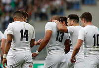 Rugby, Torneo delle Sei Nazioni: Italia vs Inghilterra. Roma, 14 febbraio 2016.<br /> England's Jonathan Joseph, second from left, celebrates with teammates after scoring a try during the Six Nations rugby union international match between Italy and England at Rome's Olympic stadium, 14 February 2016.<br /> UPDATE IMAGES PRESS/Riccardo De Luca