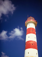 Red and white striped Morant Point Lighthouse, close up
