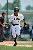 GCL Pirates first baseman Mikell Granberry (31) runs to first base during a game against the GCL Braves on July 26, 2017 at Pirate City in Bradenton, Florida.  GCL Braves defeated the GCL Pirates 12-5.  (Mike Janes/Four Seam Images)