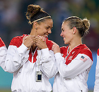 Natasha Kai, Heather Mitts. The USWNT defeated Brazil, 1-0, to win the gold medal during the 2008 Beijing Olympics at Workers' Stadium in Beijing, China.