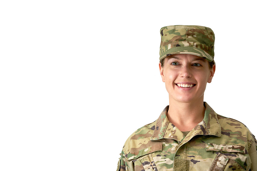 US military female soldier in uniform posing in the studio. For sale as stock photography, DOD compliant.