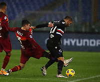 Football, Serie A: AS Roma - Sampdoria calcio, Olympic stadium, Rome, January 3, 2021. <br /> Roma's Roger Ibanez (l) in action with Sampdoria's captain Fabio Quagliarella (r) during the Italian Serie A football match between Roma and Sampdoria at Rome's Olympic stadium, on January 3, 2021.  <br /> UPDATE IMAGES PRESS/Isabella Bonotto