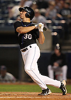 Akron Aeros First Baseman Matt McBride (30) during a game vs. the Binghamton Mets at Eastwood Field in Akron, Ohio;  June 25, 2010.   Binghamton defeated Akron 5-3.  Photo By Mike Janes/Four Seam Images
