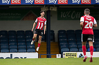 Joel Randall of Exeter City celebrates the equalising goal during Southend United vs Exeter City, Sky Bet EFL League 2 Football at Roots Hall on 10th October 2020