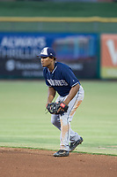 AZL Padres 2 second baseman Eguy Rosario (1) on defense against the AZL Giants on July 13, 2017 at Scottsdale Stadium in Scottsdale, Arizona. AZL Giants defeated the AZL Padres 2 11-3. (Zachary Lucy/Four Seam Images)