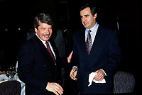 Montreal. CANADA -    File Photo between 1991 and 1995 -<br /> Jean Dore, Montreal Mayor and Lucien Bouchard (R)<br /> <br /> File Photo : Agence Quebec Pressse