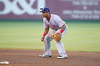 Hagerstown Suns shortstop Wilmer Difo (6) on defense against the Kannapolis Intimidators at CMC-Northeast Stadium on May 31, 2014 in Kannapolis, North Carolina.  The Intimidators defeated the Suns 4-3 in game two of a double-header.  (Brian Westerholt/Four Seam Images)
