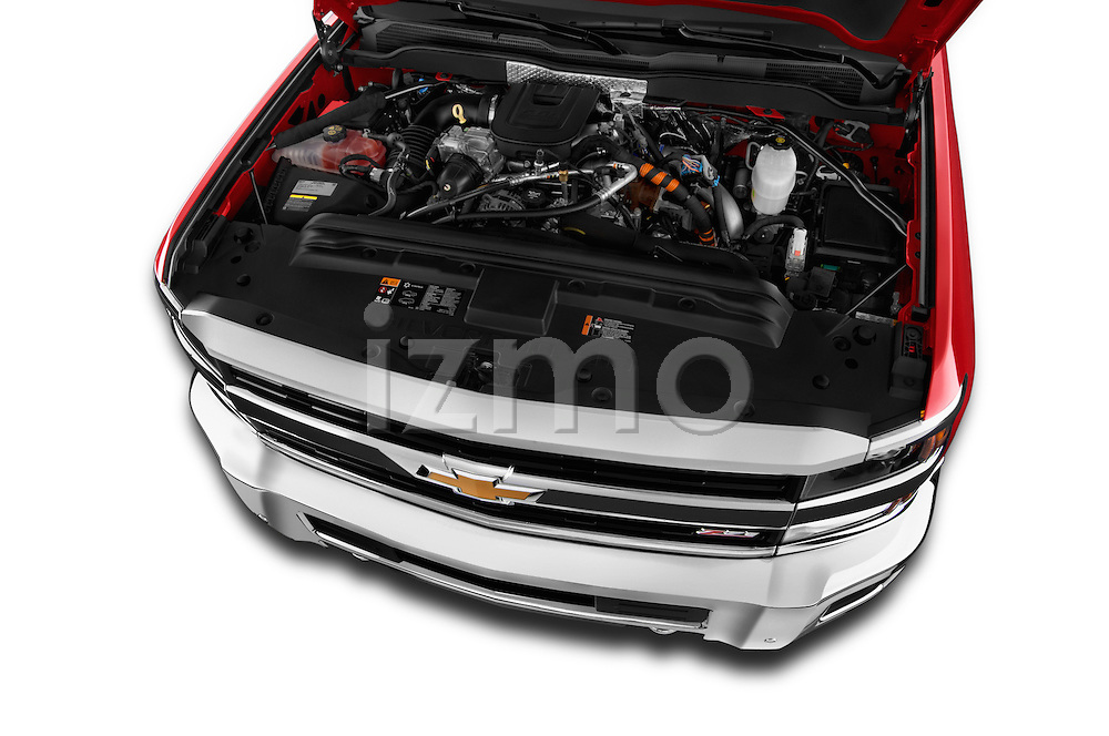 Car stock 2015 Chevrolet Silverado 2500 4 Door Van engine high angle detail view