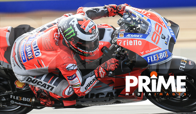 Jorge Lorenzo (99) of the Ducati Team race team during the GoPro British MotoGP at Silverstone Circuit, Towcester, England on 24 August 2018. Photo by Chris Brown / PRiME Media Images