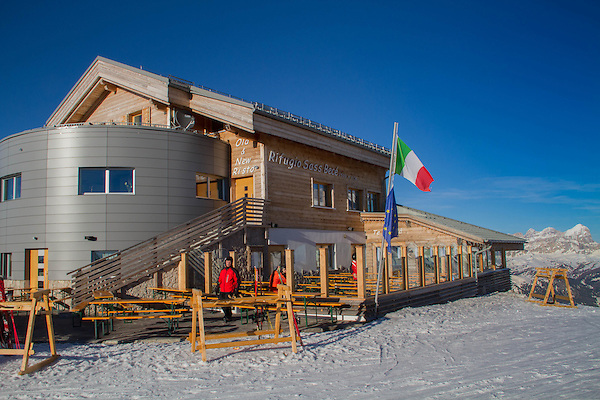 View from top of Belevedere Ski Area, Canazei, Italy,