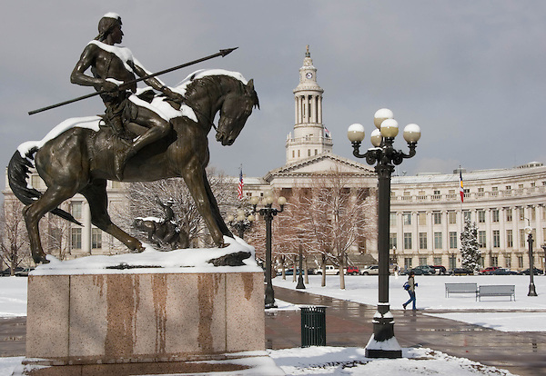 Pedestrian and War Trail Statue with County Courthouse in Civic Center Park, Denver, Colorado. .  John offers private photo tours in Denver, Boulder and throughout Colorado. Year-round Colorado photo tours.