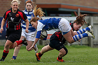 Sunday 7 April 2019 | Carrick W vs Dungannon W<br /> <br /> Ruth Gallagher is tackled during after the Rejenerate Cup Final between Carrick and Dungannon at Super Sunday Finals Day at Tom Simms Memorial Park, Carrickfergus RFC, County Antrim, Northern Ireland . Photo by John Dickson / DICKSONDIGITAL