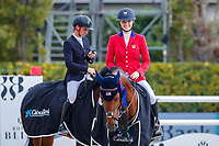 USA-Lillie Keenan rides Agana van her Gerendal Z during the Caixa Bank Trophy Prizegiving. 2021 ESP-Longines FEI Jumping Nations Cup Final. Real Club de Polo, Barcelona. Spain. Sunday 3 October 2021. Copyright Photo: Libby Law Photography