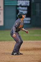 Austin Bernard (31) of the Boise Hawks leads off of second base during a game against the Everett AquaSox at Everett Memorial Stadium on July 20, 2017 in Everett, Washington. Everett defeated Boise, 13-11. (Larry Goren/Four Seam Images)