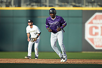 Sterling Turmon (35) of the Furman Paladins takes his lead off of second base against the Wake Forest Demon Deacons at BB&T BallPark on March 2, 2019 in Charlotte, North Carolina. The Demon Deacons defeated the Paladins 13-7. (Brian Westerholt/Four Seam Images)