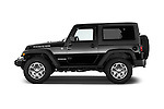 Car driver side profile view of a 2014 Jeep Wrangler Rubicon 5 Door SUV