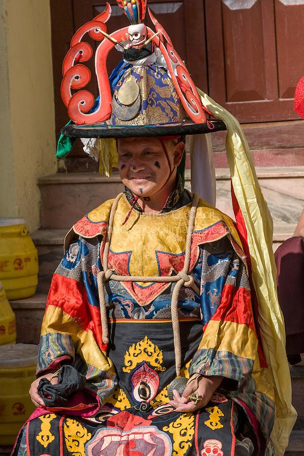 Nepal, Kathmandu, Swayambhunath.  Senior Tibetan Buddhist Monk in Ceremonial Dress.