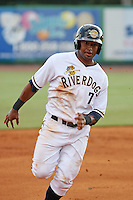 Charleston Riverdogs outfielder Zoilo Almonte #7 running the bases during a game vs. the Rome Braves at Joseph P. Riley Jr. Ballpark in Charleston, South Carolina on June 6, 2010. Charleston defeated Rome by the score of 4-2.  Photo By Robert Gurganus/Four Seam Images