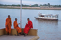 Monks at the Mekong River, Phnom Penh,Cambodia