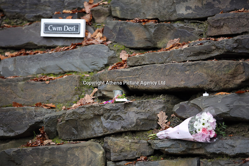 Pictured: Flowers and tributes left at the entrance to the property in Llangammarch Wells, Powys, Wales, UK. Tuesday 31 October 2017<br />Re: Investigations continue into a house fire in which a father and several of his children have died.<br />Three children aged 13, 12 and 10 escaped the farmhouse in Llangammarch Wells, Powys, in the early hours of Monday and raised the alarm.<br />Police said they could not identify the deceased or confirm numbers.<br />One of those missing has been named locally as David Cuthbertson.