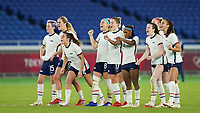 YOKOHAMA, JAPAN - JULY 30: Players of the United States celebrate a goal from the penalty spot during a game between Netherlands and USWNT at International Stadium Yokohama on July 30, 2021 in Yokohama, Japan.