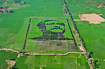 Pictured:  The completed mosaic made from rice crops.<br /> <br /> Villagers attempt a world record for the biggest crop mosaic with an extraordinary artwork stretching over more than 120,000 square metres of rice paddy fields.  This huge crop mosaic was made in the village of Balenda, Bangladesh, and depicts Sheikh Mujibur Rahman.<br /> <br /> Known as 'Father of the Nation', he was the first President of Bangladesh and also later served as Prime Minister until he was assassinated in 1975.  SEE OUR COPY FOR DETAILS.<br /> <br /> Please byline: Ahsanul Haque Nayem/Solent News<br /> <br /> © Ahsanul Haque Nayem/Solent News & Photo Agency<br /> UK +44 (0) 2380 458800