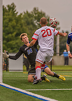 5 September 2014: University of Massachusetts River Hawks Goalkeeper Austin Kroll, a Freshman from Baltimore, MD, in action against the St. Francis College Terriers at Virtue Field in Burlington, Vermont. The River Hawks defeated the Terriers 3-1, on their way to finishing the Morgan Stanley Smith Barney Windjammer Classic Men's Soccer Tournament with a 2-0 record, and being crowned as tournament champions on goal differential. Mandatory Credit: Ed Wolfstein Photo *** RAW (NEF) Image File Available ***