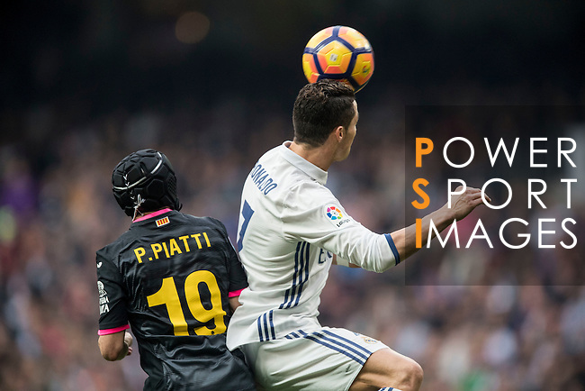 Cristiano Ronaldo of Real Madrid catches the ball during the match Real Madrid vs RCD Espanyol, a La Liga match at the Santiago Bernabeu Stadium on 18 February 2017 in Madrid, Spain. Photo by Diego Gonzalez Souto / Power Sport Images