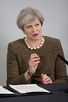British Prime Minister Theresa May speaks during the Bay City Region deal, at the Liberty Stadium, Swansea, Wales, UK. Monday 20 March 2017.