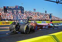 Sept. 23, 2011; Ennis, TX, USA: NHRA top fuel dragster driver Scott Palmer during qualifying for the Fall Nationals at the Texas Motorplex. Mandatory Credit: Mark J. Rebilas-