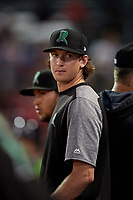Dayton Dragons pitcher Nick Lodolo (23) in the dugout during a Midwest League game against the Kane County Cougars on July 20, 2019 at Northwestern Medicine Field in Geneva, Illinois.  Dayton defeated Kane County 1-0.  (Mike Janes/Four Seam Images)