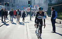 Geraint Thomas (GBR/SKY) returning from sign-on<br /> <br /> 107th Milano-Sanremo 2016