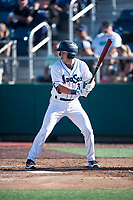 Everett AquaSox third baseman Bobby Honeyman (3) at bat during a Northwest League game against the Tri-City Dust Devils at Everett Memorial Stadium on September 3, 2018 in Everett, Washington. The Everett AquaSox defeated the Tri-City Dust Devils by a score of 8-3. (Zachary Lucy/Four Seam Images)