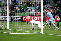 22nd May 2021, Melbourne, Australia;  Jamie Maclaren of Melbourne City scores a goal that is overturned by the VAR during the Hyundai A-League football match between Melbourne City FC and Central Coast Mariners at AAMI Park in Melbourne, Australia.