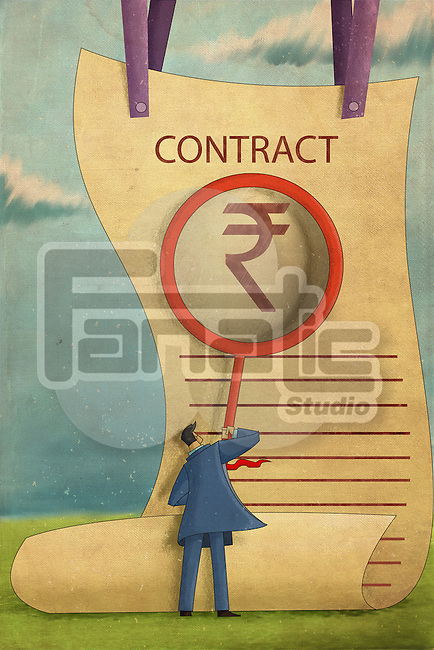 Illustrative image of businessman with magnifying glass reading contract