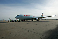 August 19 2004, Dorval - Montreal (Quebec) CANADA<br /> new color and logo onan AIR CANADA plane <br /> at Pierre E. Trudeau (YUL) Airport, August 19 2004.<br /> Photo by Yves Provencher / Images Distribution
