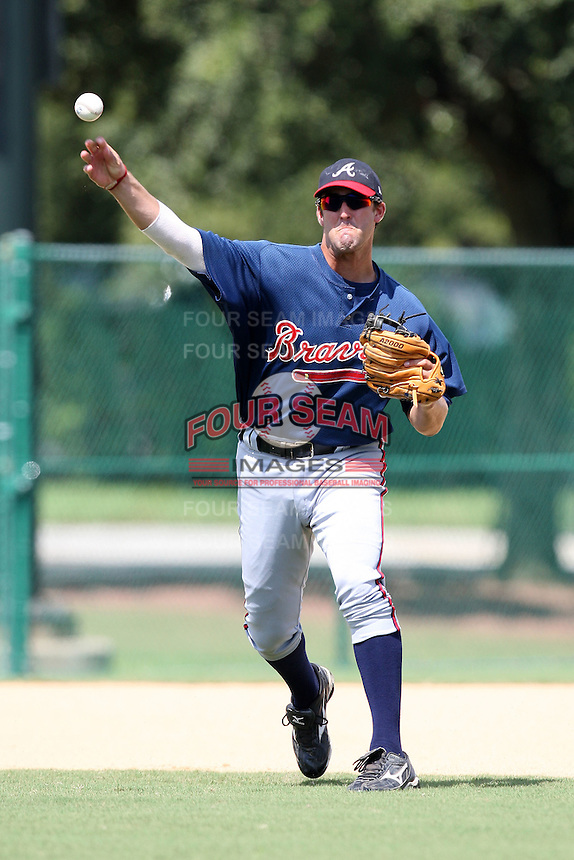 October 6, 2009:  Third Baseman Jakob Dalfonso of the Atlanta Braves organization during an Instructional League game at Disney's Wide World of Sports in Orlando, FL.  Dalfonso was drafted in the 18th round of the 2009 MLB Draft.  Photo by:  Mike Janes/Four Seam Images