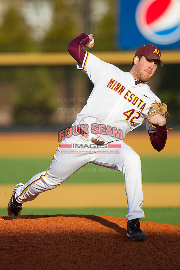 Relief pitcher Kyle Paul of the Minnesota Golden Gophers in action against the Towson Tigers at Gene Hooks Field on February 26, 2011 in Winston-Salem, North Carolina.  The Gophers defeated the Tigers 6-4.  Photo by Brian Westerholt / Four Seam Images
