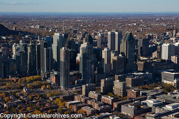 aerial photograph of the financial district in Montreal, Quebec, Canada in the fall