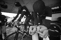 warming up<br /> <br /> Tour of Britain<br /> stage 3: ITT Knowsley Safari Park (16.1km)
