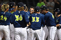 Pinch runner Desmond Lindsay (2) of the Columbia Fireflies is surrounded by teammates after scoring the winning run in the 10th inning of a game against the West Virginia Power on Thursday, May 18, 2017, at Spirit Communications Park in Columbia, South Carolina. (Tom Priddy/Four Seam Images)