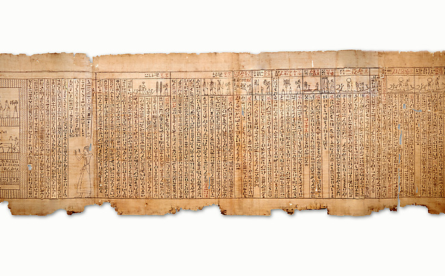 "Ancient Egyptian Book of the Dead papyrus - Spell 105 for gratifying the deceased with Ka, Iufankh's Book of the Dead, Ptolemaic period (332-30BC).Turin Egyptian Museum. White Background<br /> <br /> The spell is "" Hail to thee, my spirit, my lifetime. Behold I am come unto thee risen, powerful, posessed of a soul, mighty.<br /> <br /> You who weighs in the balance. may truth rise to the nose of Ra, on that day of judgement, ley not my head be taken away from me.""<br /> <br /> The translation of  Iuefankh's Book of the Dead papyrus by Richard Lepsius marked a truning point in the studies of ancient Egyptian funereal studies."