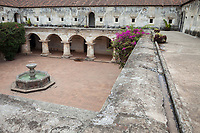Antigua, Guatemala.  Courtyard and Fountain of Capuchinas Convent, Built 1736.