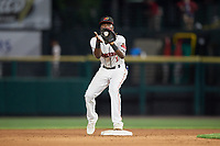 Rochester Red Wings second baseman Nick Gordon (1) waits to receive a throw during a game against the Lehigh Valley IronPigs on June 30, 2018 at Frontier Field in Rochester, New York.  Lehigh Valley defeated Rochester 6-2.  (Mike Janes/Four Seam Images)