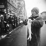 On Sunday, February 26, 2012, thousands of people gathered in central Moscow for the Big White Circle protest, forming a human chain along most of the length of the Russian capital's 15.6 kilometer/9.7 mile Garden Ring road, protesting against corruption and demanding a fair presidential election, which is to take place in one week, on March 4. Moscow. Russia. 2012