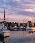 Madeline Island, WI<br /> Madeline Island Yacht Club under sunset colored sky, Apostle Islands, Lake Superior