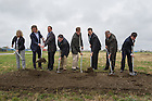 Oct. 15, 2014; (names left to right) - Ryan Rans. Brad Toothaker, both from Great Lakes Capital, Josh Cameron and Scott Morris, ND Turbo, Scott Ford, Executive Dir, Community Investment, South Bend, ohn Affleck-Graves, executive vice president of Notre Dame and Mayor Peter Buttigieg at the ground breaking for the ND Turbo Machinery facility in South Bend. (Photo by Barbara Johnston/University of Notre Dame)
