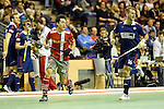 Berlin, Germany, January 31: During the 1. Bundesliga Herren Hallensaison 2014/15 semi-final hockey match between Rot-Weiss Koeln (dark blue) and Club an der Alster (red) on January 31, 2015 at the Final Four tournament at Max-Schmeling-Halle in Berlin, Germany. Final score 4-3 (2-2). (Photo by Dirk Markgraf / www.265-images.com) *** Local caption *** Danny Nguyen #21 of Club an der Alster, Hendrik Schwarzer #16 of Rot-Weiss Koeln