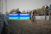 Belgian CX Champion Sanne Cant (BEL/Enertherm-Beobank) leading comfortably in the sand<br /> <br /> Elite Women's Race<br /> Soudal Jaarmarktcross Niel 2016